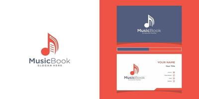 Music book logo templates and business card design vector