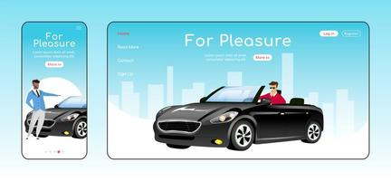 For pleasure responsive landing page flat vector template