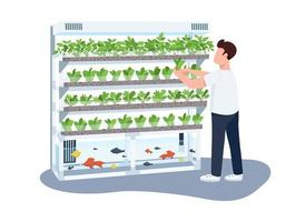 Man and domestic greenhouse, gardener flat color vector faceless characterv