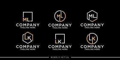 logo box initial monogram bundle vector