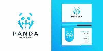 Panda work logo templates and business card design vector