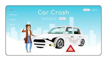 Car crash landing page flat color vector template
