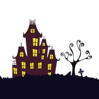 haunted castle halloween isolated icon vector