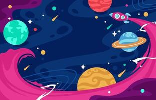 Flat Colorful Space with Rocket Background vector