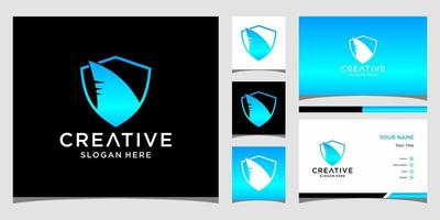 Shark logo templates and business card design vector