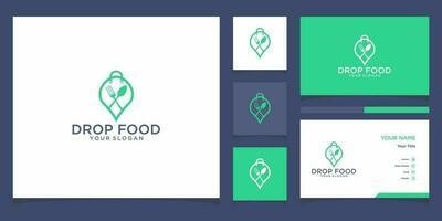 Drop food logo templates and business card design