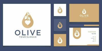 Plantillas de logotipo de aceite de oliva y diseño de tarjetas de visita. vector