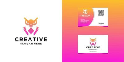 working owl logo templates and business card design vector