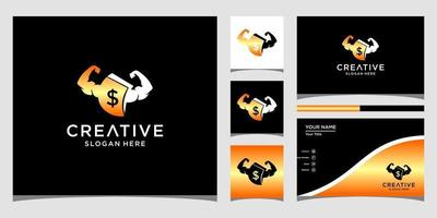 Fitness logo templates and business card design vector