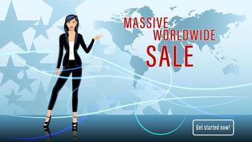 Young Woman, Brunette, Worldwide Sale TV Presenter vector