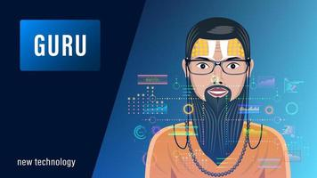 Guru in Front of a Holographic Interface, HUD vector