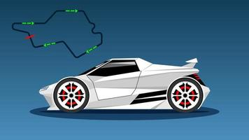 Modern White Color Sport Car Technology, Side View vector