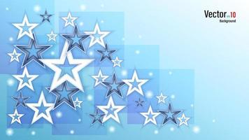 3d White and Black Stars on Blue Background vector