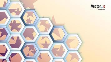 3d White Hexagons on Stars Background