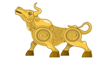 Metal Gold Bull, Ox Side View with Flower Pattern