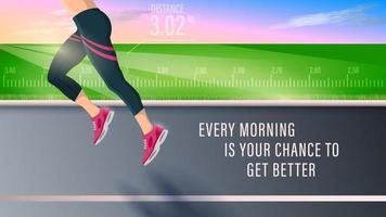 Legs of Fitness Woman Running Side View on the Road vector