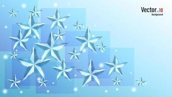 3d de cristal o estrellas brillantes de hielo en el fondo vector