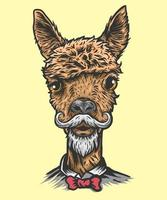 Head alpaca illustration vector
