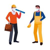 operator and architect with mask and helmet vector
