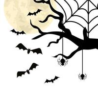 dry tree with bats and spiders vector