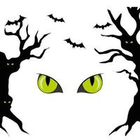 haunted dry trees with eyes scary and bats flying vector