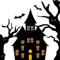 haunted castle with tree halloween vector