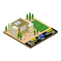 Isometric School Illustrated On White Background vector