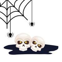 skull dead halloween with spiders vector