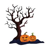 dry tree with halloween pumpkins