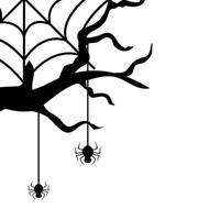 dry tree with spiders isolated icon vector