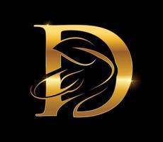 Golden Leaf Monogram Initial Letter D vector