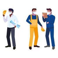 Arquitecto y operador con ilustración de vector de máscara