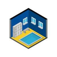 Room With Isometric Swimming Pool On White Background