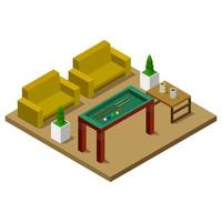 Room With Isometric Billiard Table On White Background vector