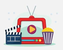 watching movie concept illustration in flat style vector