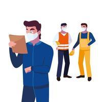 Operadores de la industria que usan máscaras faciales en el trabajo.