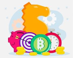 Cryptocurrency exchange strategy concept illustration vector