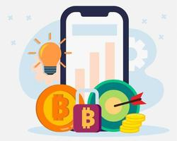 Cryptocurrency transaction on smartphone concept illustration vector