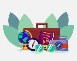travel concept symbol for banner illustration in flat style