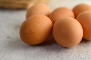 Close-up of organic brown eggs photo