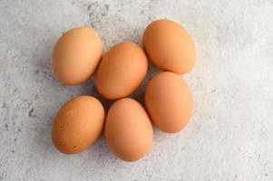 Organic brown eggs photo