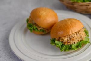 Two hamburgers placed on a white dish beautifully photo