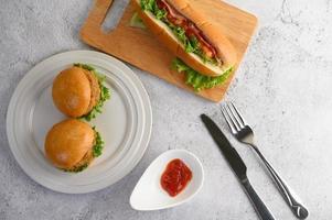 Hamburgers and a hotdog photo