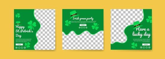 colección de plantillas de publicaciones en redes sociales para el día de San Patricio. Celebre el día de San Patricio. que tengas un día de suerte. fiesta verde irlandesa. vector