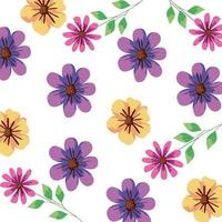 background of flowers and leafs vector