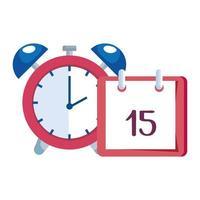 despertador con recordatorio de calendario vector