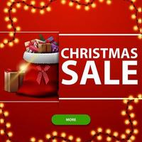 Christmas sale, red square discount banner with garland, green button and Santa Claus bag with presents vector