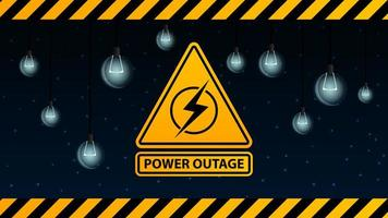 Power outage, yellow warning logo on the background of starry sky and dull light bulbs vector