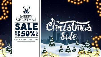 Merry Christmas, sale up to 50 off, discount and greeting banner with winter landscape on background vector
