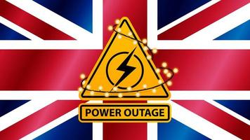 Power outage, yellow warning sign wrapped with garland on the background of the flag of Great Britain vector